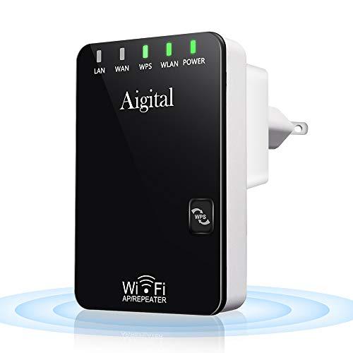 Aigital WIFI 無線LAN 中継機 中継器Wi-Fiリピーター信号増幅器ワイヤレスレンジエクステンダWiFi 範囲ブースター長距離信号拡張器2.4GHz 300Mbps対応11n/g/b WPS設定ホームブリッジAPモード改善拡大 強力安定した通信直挿型