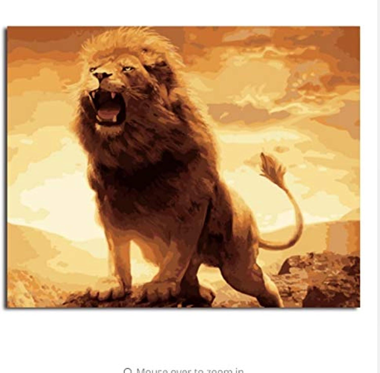 LIWEIXKY Bilder Malen Nach Zahlen Von Tier Löwe Handarbeit Leinwand Ölgemälde Wohnkultur Für Wohnzimmer - Mit Rahmen - 40x50cm B07PSB7K79 | Günstige