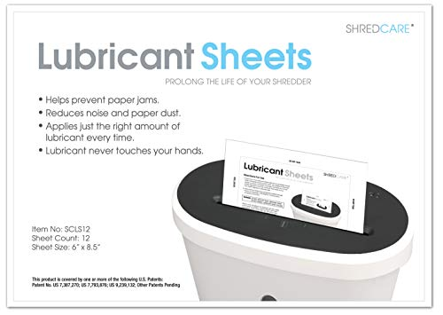 Shredcare Paper Shredder Lubricant Sheets SCLS12 (Pack of 12) 8.5' x 6'