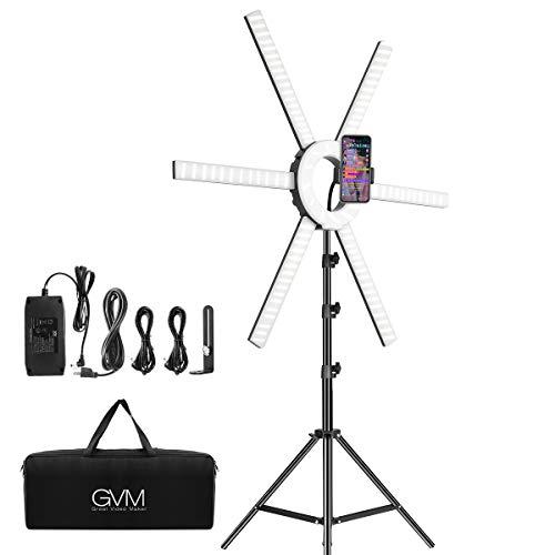 GVM 600S LED Ring Light, 90W Dimmable Led Video Light Kit with Detachable Light Bars, Photography Lighting Led Video Lighting Kit for Live Broadcast, YouTube, CRI 97+ 3200K-5600K