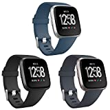eseekgo Compatible with Fitbit Versa Bands/Versa 2/Versa Lite/Special Edition, 3 Pack Sport Silicone Breathable Soft Replacement Fitness Wristband Small Large for Men, Women