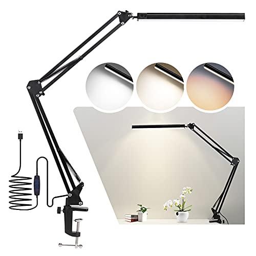 14W LED Schreibtischlampe mit Klemme,Architektenlampe dimmbares Leselicht für die Augenpflege, 3-Farben-Schwenkarmlampe, USB-Tischlampe zum Aufstecken, Tageslichtlampe für Schreibtischzubehör