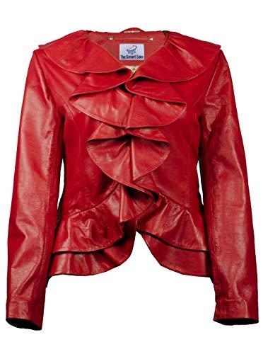 TheSmartSales Chaqueta de cuero con volantes Bella roja para mujer - Chaqueta de cuero para mujer - rojo - XXXL