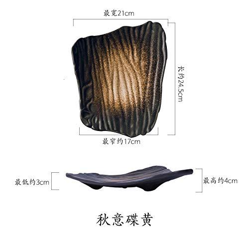 Teller 10-Zoll-Kreativkeramik-Sushi-Teller Unregelmäßiger Flacher Teller Im Japanischen Stil Schwarzer Frühstücksteller Teller Mit Hausgemachtem Snack