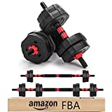 Adjustable Dumbbells, Arespark 15kg (33lb) 3 in 1 Barbell Weights Dumbbells Set with Connecting Rod, Detachable Barbell Fitness Equipment Weightlifting, Free Weights for Men Women Training at Home Gym