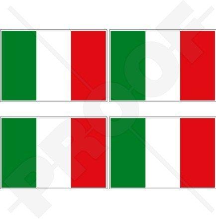 ITALIEN Italienische Flagge ITALIEN 50mm Auto & Motorrad Aufkleber, x4 Vinyl Stickers