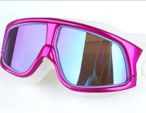Occhialini da nuoto per adulti, maschera per immersioni, in morbido silicone, per naso, per uomo, donna, giovani, bambini dai 6 ai 14 anni, rosa antico