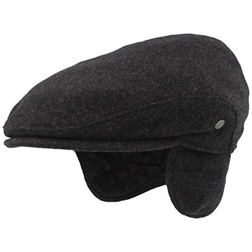 Casquette plate pour homme avec cache-oreilles   Casquette plate   Casquette en laine – Imperméable & pliable – Doux pour la peau et confortable - Gri
