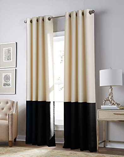 Curtainworks Kendall Color Block Grommet Curtain Panel, 84 inch , Cream and Black