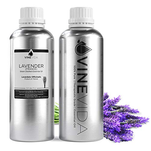 Bulk Lavender (France) Essential Oil – 32 Oz Lavender Essential Oil in Aluminum Bottle - 100% Pure & Undiluted Essential Oil - 2 Pounds Lavender Oil for DIY Soaps, Candles, & Blends - VINEVIDA