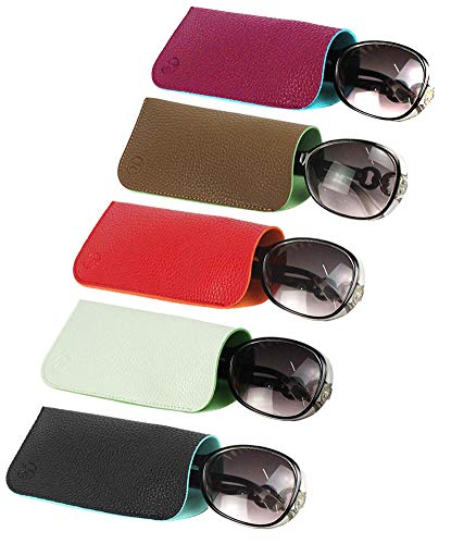 sunglasses set with cases JAVOedge (5 PACK / 3 PACK) 2 Tone Style Soft Pouch Eyeglass Storage Case w/Microfiber Eyeglasses Cloth (Mix Colors Set)