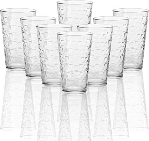 Circleware Blocks Set of 8 Heavy Base Highball Drinking Glasses Tumblers Ice Tea Beverage Cups...