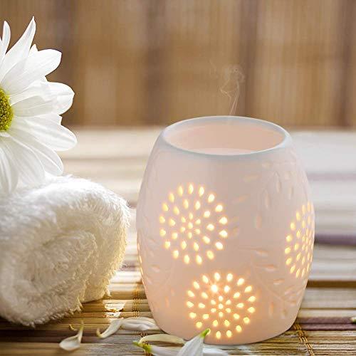 Queta milchweiße Duftlampen Teelichthalter Aromalampe aus Keramik weiß mit dem Kerzenhalter1 Stück wie EIN Blumenformen 10cm*12cm mit einem Löffel 4,5cm*8,2 cm