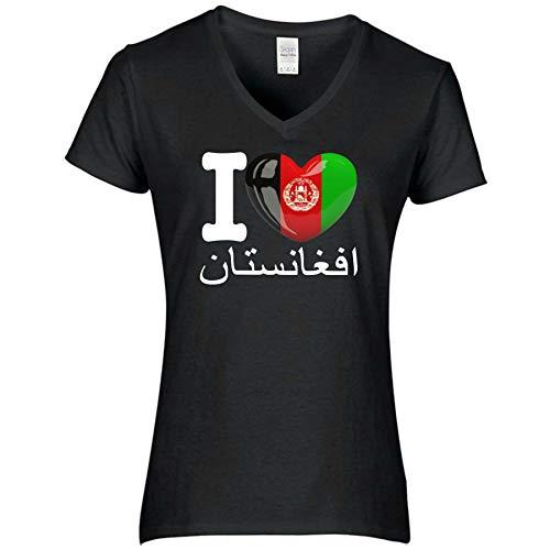 FanShirts4u Damen T-Shirt - I Love Afghanistan - WM Trikot Liebe Herz Heart (L, Afghanistan - arabisch/schwarz)