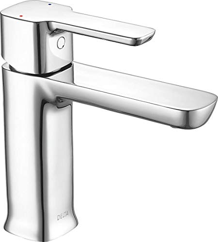 Delta Faucet Modern Single Hole Bathroom Faucet, Single Handle Bathroom Faucet Chrome, Bathroom Sink Faucet, Drain Assembly, Chrome 581LF-PP