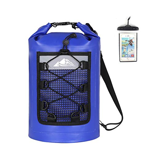 HEETA Waterproof Dry Bag for Women MenUpgraded Version 5L/ 10L/ 20L/ 30L Roll Top Lightweight Dry Storage Bag Backpack with Phone Case Blue 5L
