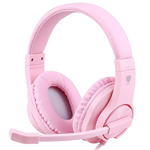 415+NG5TTZL - AILIHEN I35 Kid Headphones with Microphone Volume Limited Childrens Girls Boys Teens Lightweight Foldable Portable Wired Headsets for School Airplane Travel Cellphones Tablets (Pink Purple)