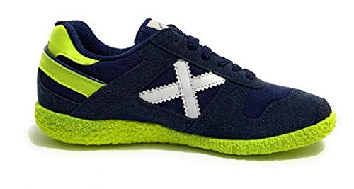 Munich Kinder Sneaker mit Schnüren Mini Goal Suede/Stoff blau/gelb Z20MU03, Blu Navy/Giallo - Größe: 36 EU