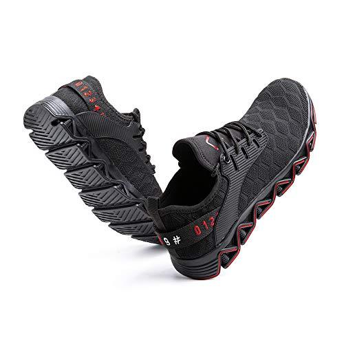 Zapatos de Seguridad Hombre Mujer Trabajo Ligeras Calzado de Seguridad Deportivo Comodo con Punta de Acero C Rojo 43 EU 🔥