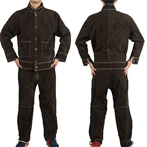 ATGTAOS Kuhfell Schweißschutzkleidung Schweißen Overalls Schweißen Feuerfeste Und Hochtemperaturbeständige Arbeitskleidung,Braun,XL