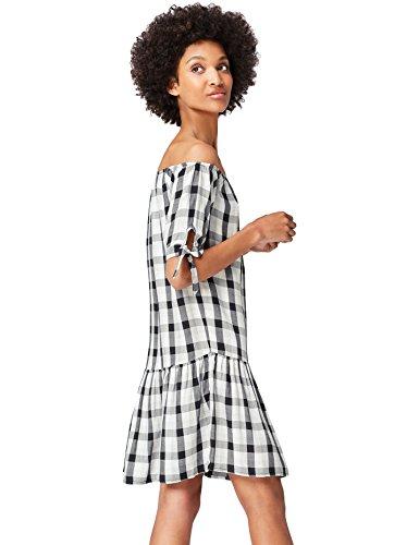 Marchio Amazon - find. Vestito Mini Senza Spalline Donna, Multicolore (Black Mix), 40, Label: XS