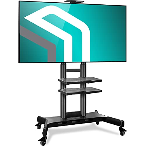 "ONKRON Carro TV Soporte Móvil de Piso Pantallas LCD, LED, QLED de 55"" - 80"" de hasta 90,9 kg - TS18-81 Pie TV, Base TV"