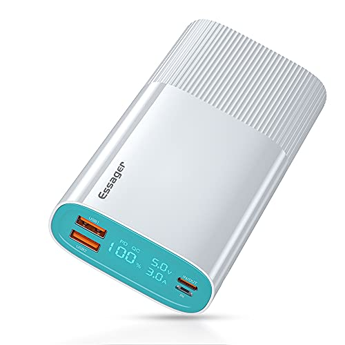 ESSAGER Power Bank 20000mAh 18W Cargador portátil con Carga rápida, USB C PD QC 3.0 PowerBank,bateria Externa movil compatiblecon:iPhone 11 12 Pro MAX XR XS X ,Galaxy s10,teléfono móvil (Blanco)