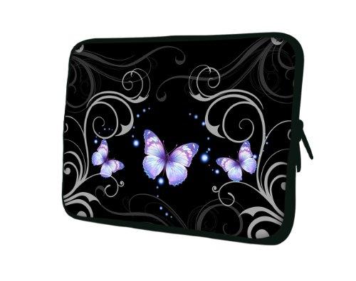 wortek Universal Notebooktasche Schutzhülle aus Neopren für Laptops bis ca. 15,4 Zoll - Ranke Schmetterling Schwarz Lila Weiß
