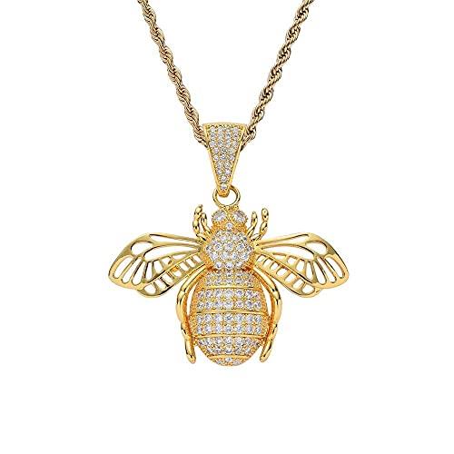 JIAH Collares con colgante de abeja de hip hop para hombre, con circonita AAA, con colgantes hiphop, collar de joyería de regalo (longitud de 60 cm, color de la piedra principal: 4 mm de tenis)