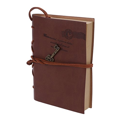 FOXNOVO Notebook Travel Diary Sketchbook Klassische Vintage-Stil PU Cover Kaffee