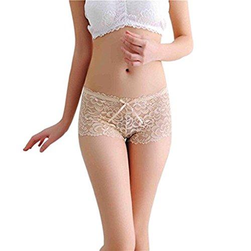 Gemini_mall Damen Sexy Spitzenslip, durchsichtig, mit Schleife, Stringtanga, Unterwäsche Gr. One size, beige