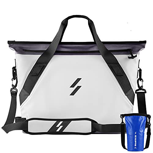 Soft Cooler Bag Tote Portable Large Beach Cooler 6.9Gal 26L Insulated Leak & Waterproof Soft Cooler Tote Bag for Golf Travel Car Camping Fishing Floating Hiking Picnic (Grey&Blue)