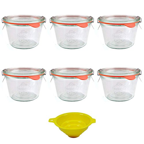 Viva Haushaltswaren U5134528 Lot de 6 bocaux à bord arrondi 250 ml avec pinces, anneaux et entonnoir jaune avec système de blocage