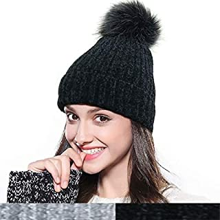 Womens Beanie Hat Slouchy Winter Pom Pom Beanie for Women Skull Ski Cap
