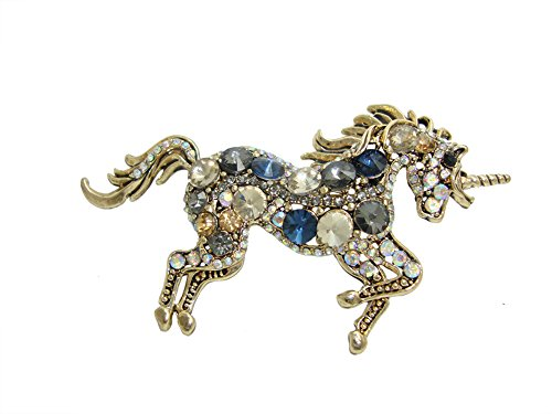 ttjewelry único Elegante Unicorn Caballo Rhinestone Broche de Estilo Art Nouveau de Cristal para Mujer