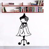 Wandtattoos Kleid Mädchen Wandkunst Wandbild Dekor Schaufensterpuppe Näherin Mode Wandaufkleber Schneider Shop Stoffständer Wandtattoo 42 * 88 Cm