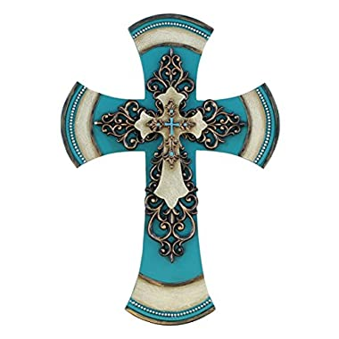 11 1/2  Decorative Layered Tuscan Wall Cross Scrolly Fleur De Lis - Teal