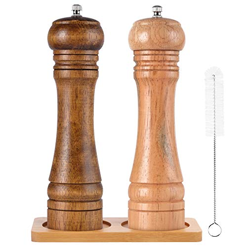 SZUAH Salt and Pepper Grinders, Oak Wooden Salt and Pepper Mills Shakers with Cleaning Brush & Wood Stand, Ceramic Rotor with Strong Adjustable Coarseness[Set of 2]