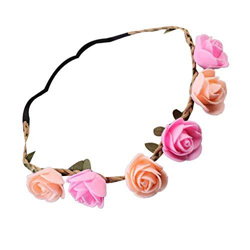 ELENXS Bébé Fille Artificielle Rose Fleur Bandeau Nouveau-né Accessoires Cheveux Tissu Couronne Hairband