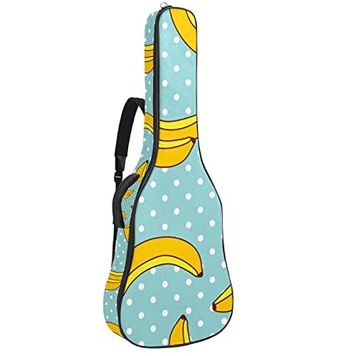 Electric Guitar Bag Padded Acoustic Guitar Gig Bag Adjustable Shoulder Strap Guitar Case Banana Polka Dot Pattern