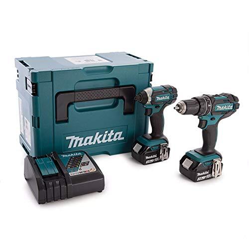 Makita DLX2131JX1 Combi de Broca y Llave de Impacto, 18V 2Piece Combo Kit Cordless LXT(Set DHP482 + DTD152 + DC18RC + BL1830B x3), 600 W, 18 V
