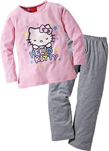 Hello Kitty Kinder Mädchen Schlafanzug, lang (Rosa/Grau, Gr. 134/140)