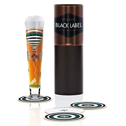 RITZENHOFF Black Label Bierglas von Petra Mohr, aus Kristallglas, 300 ml, mit fünf Bierdeckeln