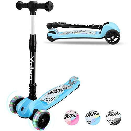 YOLEO Kinder Roller Kinderscooter Dreiradscooter mit LED Leuchtenden Räder, 2 Rädern Hinterbremsen, 4Höhenverstellbare, faltbarem Lenker, bis50kg belastbar, für Kinder Mädchen Jungen ab 3 Jahre (Blau)