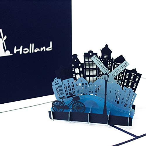 """3D Karte """"Holland – Amsterdam"""" edle Pop-Up Geburtstagskarte, Grußkarte, Souvenir & Geschenk – als Einladung zum Städtetrip, als Geschenkidee und einzigartige Dekoration"""