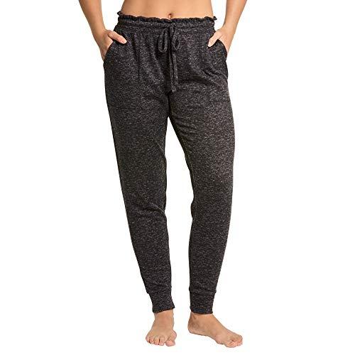 Danskin Women's Jogger Lounge Sleep Pajama Pants, Super Soft, Machine-Washable, Patch Front Pockets (Charcoal Heather, Large)