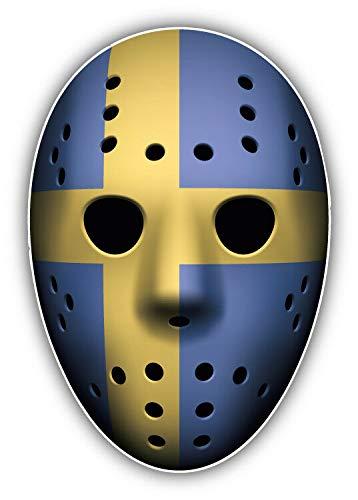 Tiukiu Schwedenflagge Eishockey Torwart Maske Vinyl Aufkleber Sticker für Laptop Kühlschrank Gitarre Auto Motorrad Helm Werkzeugkasten Koffer Taschen 10,2 cm Breite, Vinyl, Multi, 4 Inch In Width