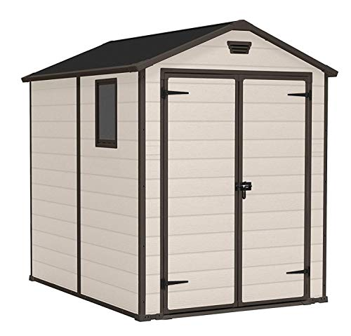 Keter Manor Outdoor Plastic Garden Storage Shed, Beige, 6 x 8 ft