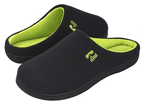 RockDove Men's Original Two-Tone Memory Foam Slipper, Size 11-12 US Men, Black/Lime