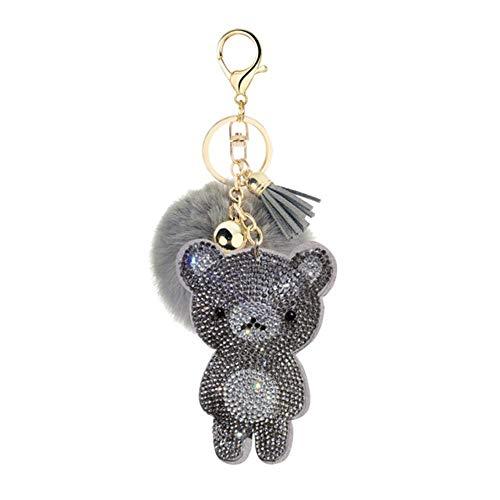 TOSISZ Koreanische Samt Strass niedlichen Bärenfell Ball Schlüsselring Anhänger Pompon Schmuck Tasche hängen Zubehör, 4